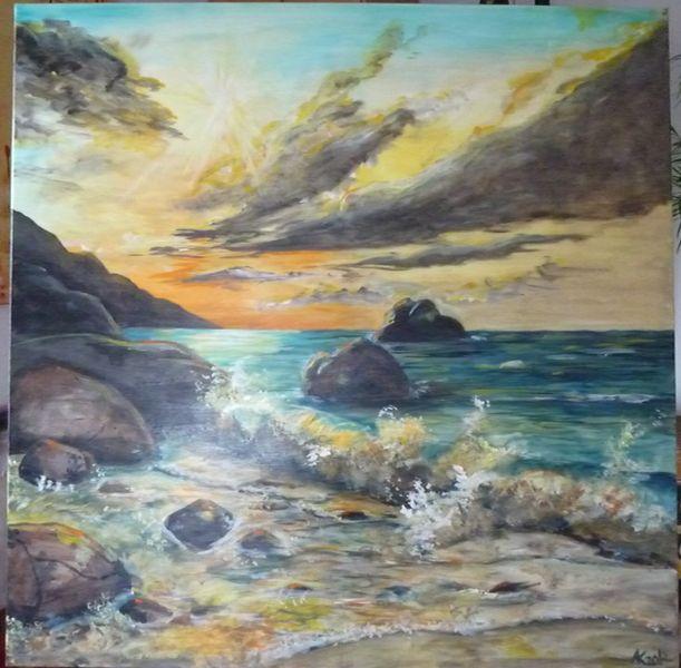 Strand, Welle, Drama, Sonnenlicht, Meer, Malerei