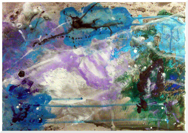 Zeichnen, Fließen, Fluss, Acrylmalerei, Waldrand, Bunt