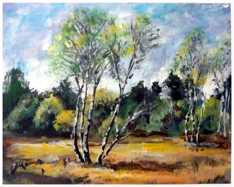 Baum, Landschaft, Birken, Heide, Malerei