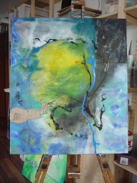 Gelb, Abstrakt, Grün, Mischtechnik, Blau, Grau