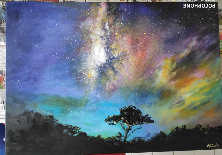 Wolken, Baum, Farbverlauf, Weltall, Galaxie, Wald