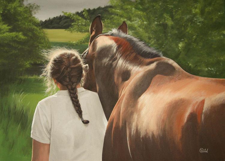 Blick, Reiter, Landschaft, Feld, Baum, Pferde