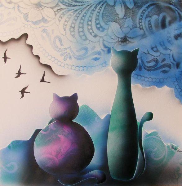 Katze, Vogel, Abstrakt, Malerei, Scherenschnitt