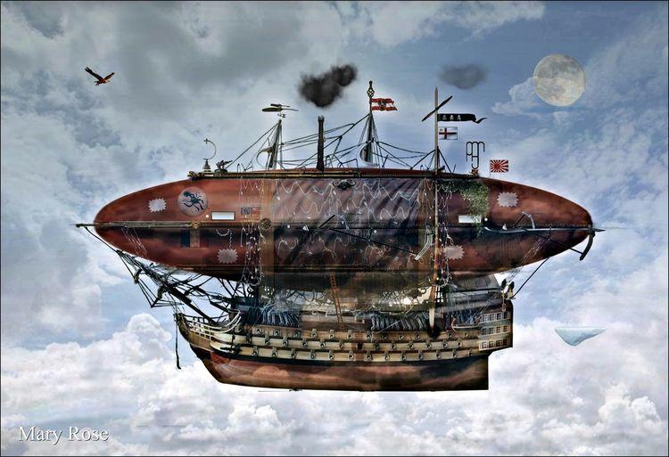 Zeichnung, Science fiction, Fantasie, Zeppelin, Afrika, Eding