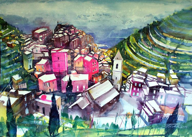 Italien, Cinque terre, Meer, La spezia, Ligurien, Aquarellmalerei