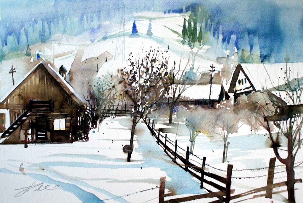 bild winterlandschaft aquarellmalerei schnee bauernhaus von johann pickl bei kunstnet. Black Bedroom Furniture Sets. Home Design Ideas
