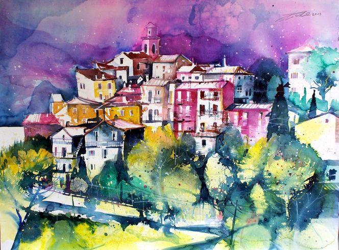 Italien, Lago di garda, Aquarellmalerei, Dorf, Gardasee, Aquarell