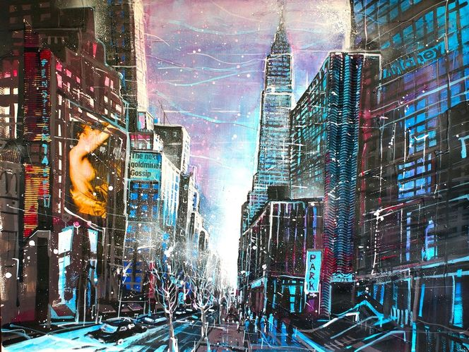 Empire state building, Manhattan, Collage, Usa, Mixed media, Cityscapes