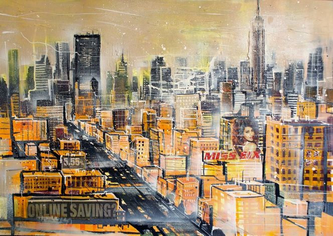 Collage, Mixed media, Manhattan upper westside, Stadtlandschaft, Empire state building, Acrylmalerei