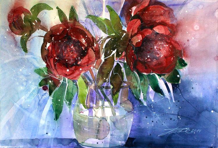 Blumen, Blüte, Aquarellmalerei, Rose, Rot, Pfingstrosen