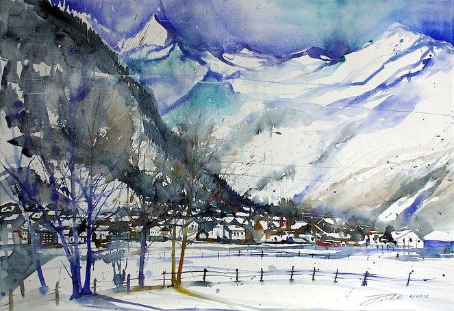 Pinzgau, Salzburg, Aquarellmalerei, Gletscher, Berge, Winterlandschaft
