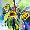 Sonnenblumen und Hortensien