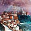 Italien, Aquarellmalerei, Umbrien, Norcia