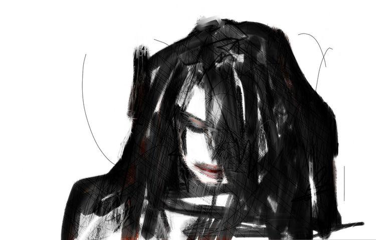 Trauer, Rechner, Gesicht, Digitale kunst, Traurig
