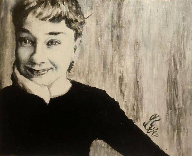 Audrey aquarell portrait, Malerei, Portrait