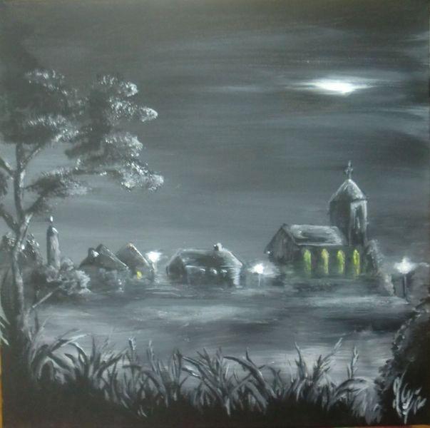 Kirche, Acrylmalerei, Landschaft, Nacht, Malerei