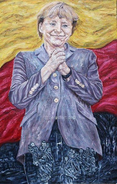 2015 merkel, Deutschlandflagge, Sinnig, Flüchtlingspolitik, Farben, Malerei