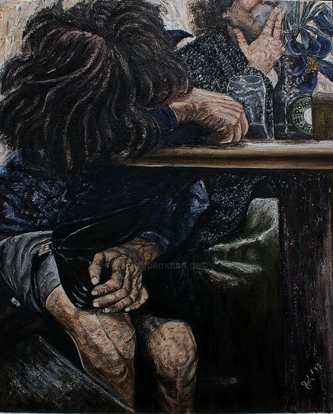 Das tiefe tief, Trinkerin, Rausch, Die bipolare, Kneipe, Malerei