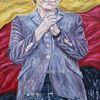 2015 merkel, Deutschlandflagge, Sinnig, Flüchtlingspolitik