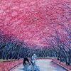 Berndtart, Baumallee in rosa, Post impressionismus, Quijote