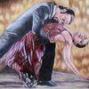 Ein hingebnungsvolles, Tangopaar, Tangotänzer, Ölmalerei
