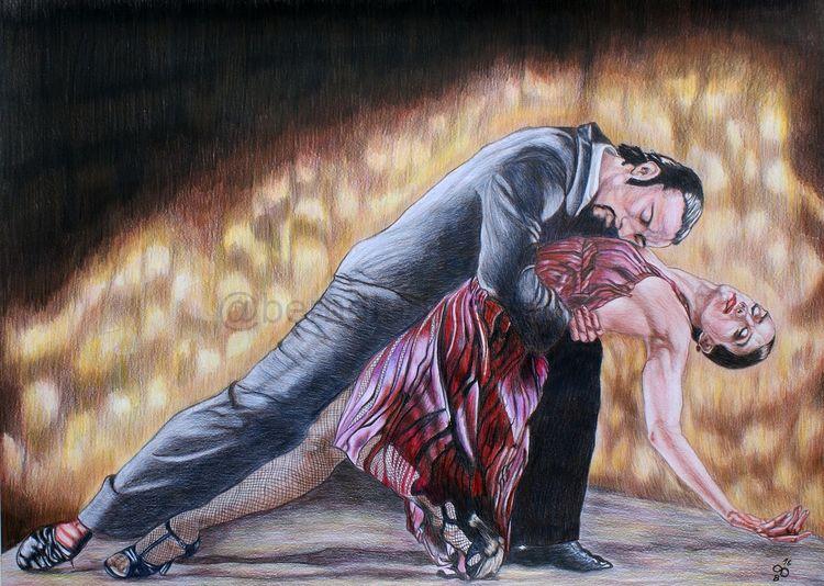 Studie, Walpurbisnacht*, Ein hingebnungsvolles, Tangopaar, Tangotänzer, Ölmalerei