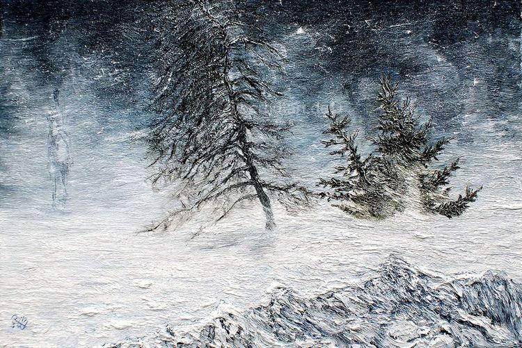 Winterlandschaft, Schneelandschaft, Reiter im schnee, Pferde, Weisse wanderer, Malerei