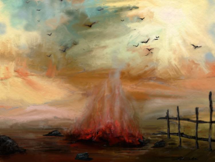 Fantasie, Feuer, Landschaft, Vogel, Himmel, Lagerfeuer