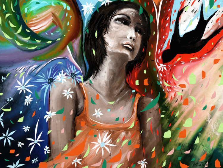 Mädchen, Fantasie, Bunt, Farben, Digitale kunst, Surreal