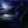 Frau, Blumen, Nacht, Blau