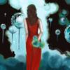 Frau, Fantasie, Blau, Surreal