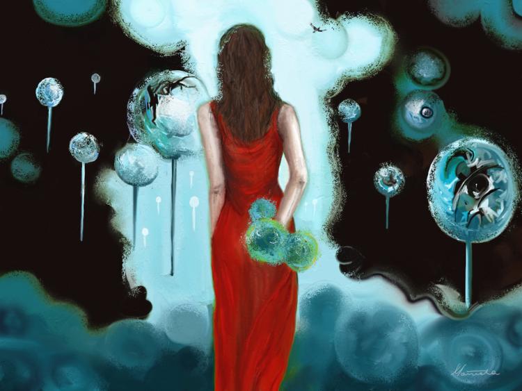 Frau, Blau, Fantasie, Surreal, Vogel, Rot schwarz