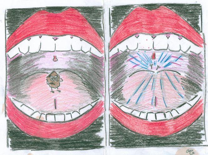 Eierkuchen, Krümel, Mund, Lachen, Zähne, Rot