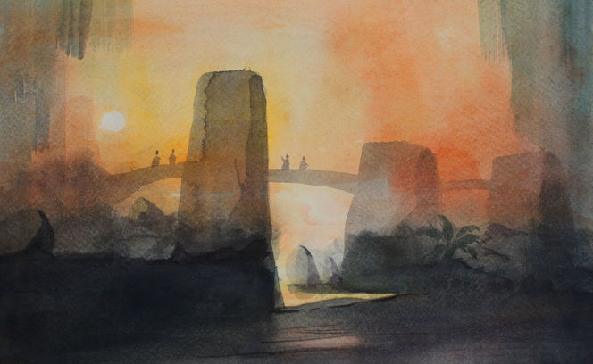 Menschen, Brücke, Felsen, Abendstimmung, Aquarell,
