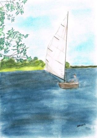 Spiegelung, See, Segel, Natur, Pastellmalerei, Segelboot