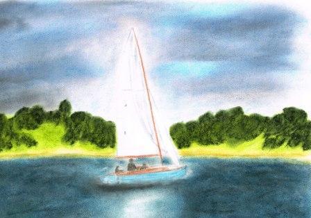 See, Pastellmalerei, Wasser, Boot, Natur, Segel