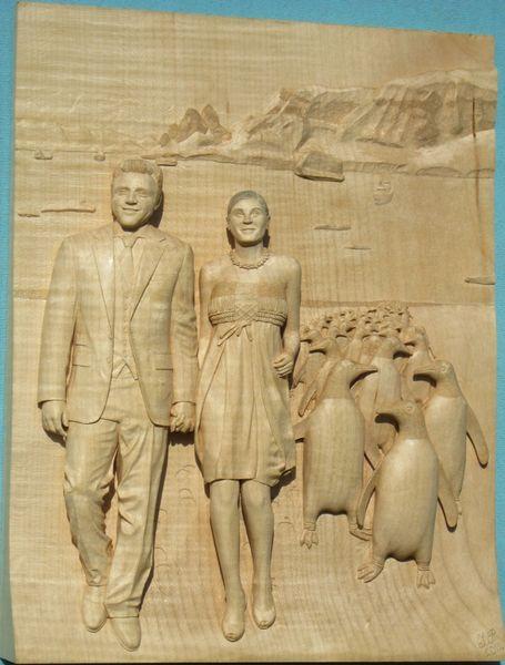 Nach fotos holzschnitzen, Antarktis, Boris, Pinguin, Relief aus holz, Skulpturen schnitzen