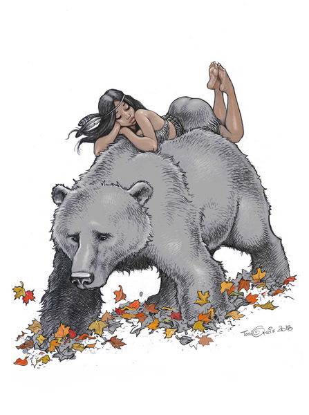 Laub, Bär, Frau, Zeichnungen