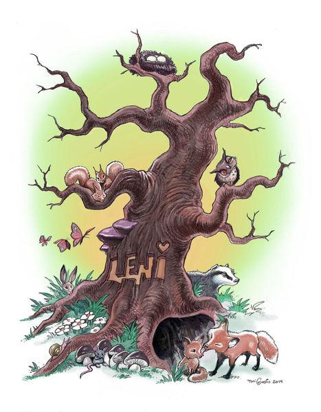 Baum, Pilze, Fuchs, Schmetterling, Schnecke, Eichhörnchen