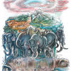 Schildkröte, Elefant, Erde, Aquarell