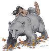Bär, Frau, Laub, Zeichnungen