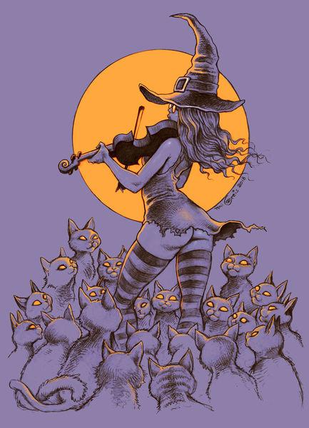 Katze, Frau, Geige, Illustrationen