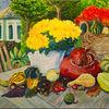 Kürbisse, Acrylmalerei, Chrysantemen, Herbst