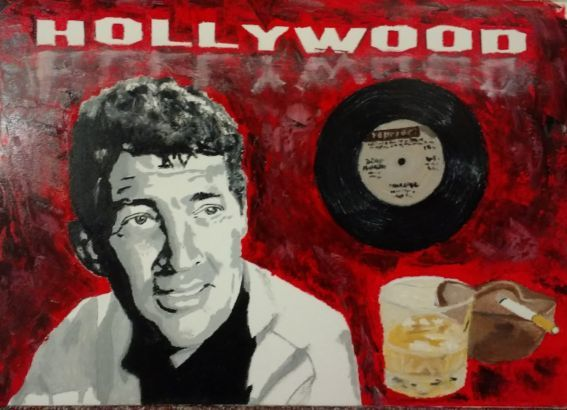 Schallplatte, Whisky, Dean martin, Hollywood, Malerei