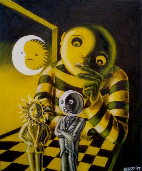 Ölmalerei, Nacht, Sonne, Yin und yang, Schach, Mond