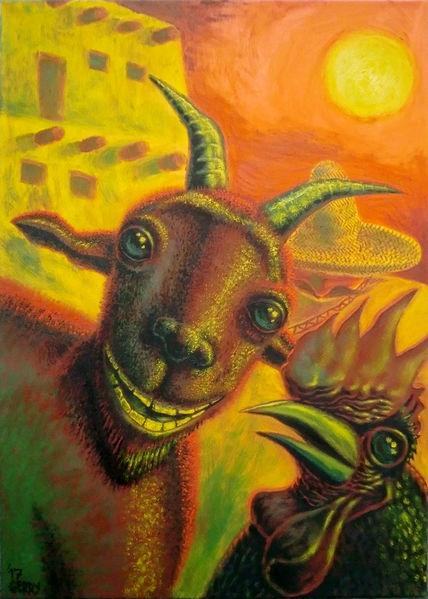 Ölmalerei, Hahn, Malerei, Mexiko, Figural, Ziegen