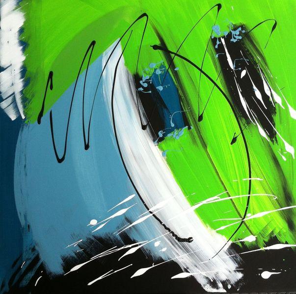 Grün, Leuchten, Bunt, Acrylmalerei, Blau, Schwarz weiß