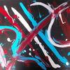 Blau, Schwarz weiß, Rot, Acrylmalerei