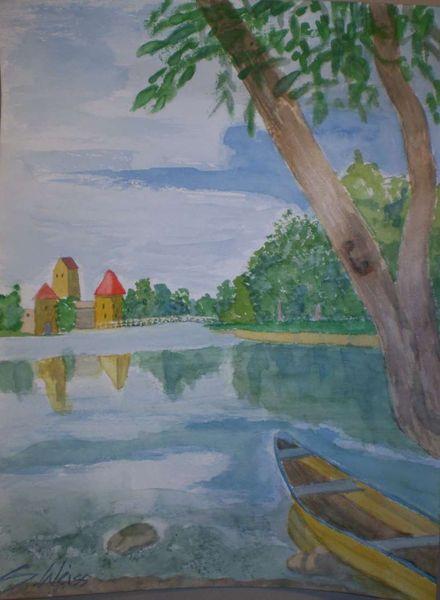 Boot, Brücke, Spiegelung, Landschaft, Wasser, Aquarellmalerei