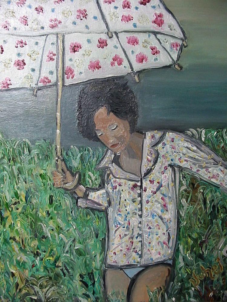 Mädchen Mit Schirm Wiese Gewitter Mädchen Feld Von Juhei Bei